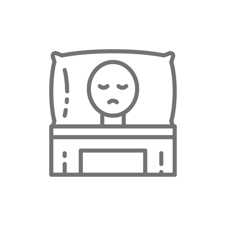 Vector cancer patient in bed, oncology line icon. Symbol and sign illustration design. Isolated on white background Illustration