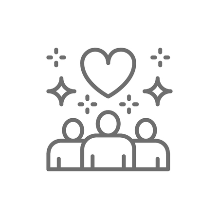 Vector people with big heart shape, donations, volunteering, friendly, charity, love line icon. Symbol and sign illustration design. Isolated on white background Illustration