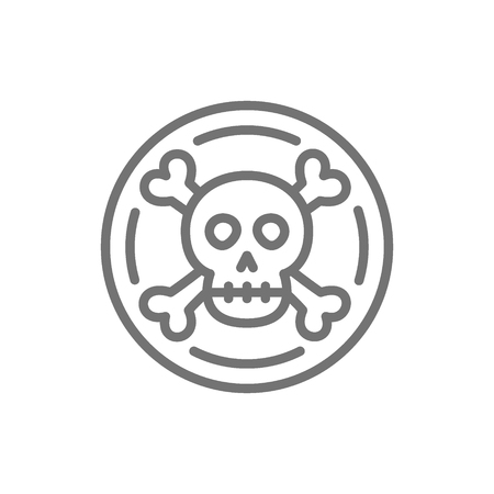 Vector pirate coin, doubloon, treasure line icon. Symbol and sign illustration design. Isolated on white background
