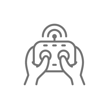 Vector hands holds remote controller, control panel for drone, gamepad line icon. Symbol and sign illustration design. Isolated on white background