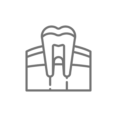 Vector tooth, gum, dentist, human organ line icon. Symbol and sign illustration design. Isolated on white background