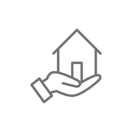 Vector hand holds house, home insurance, real estate protection line icon. Symbol and sign illustration design. Isolated on white background Illustration