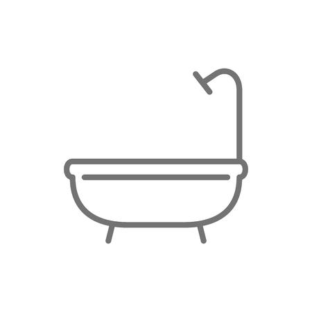 Vector bathtub, shower, bathroom line icon. Symbol and sign illustration design. Isolated on white background