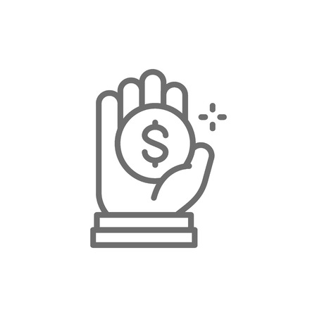 Vector coin in hand, money donation, charity, volunteering line icon. Symbol and sign illustration design. Isolated on white background