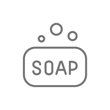 Vector soap bar, hygiene line icon. Symbol and sign illustration design. Isolated on white background
