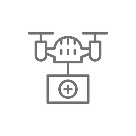 Vector drone with medical box, fast delivery, transportation line icon. Symbol and sign illustration design. Isolated on white background