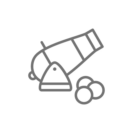Vector cannon, artillery gun, antique weapon line icon. Symbol and sign illustration design. Isolated on white background Illustration