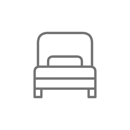 Vector single bed, hotel room line icon. Symbol and sign illustration design. Isolated on white background