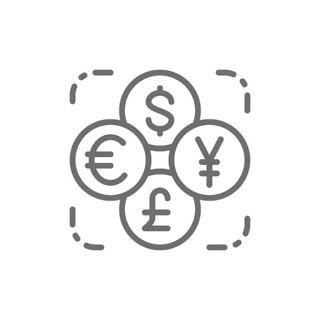 Vector currency exchange, foreign money, coin of dollar, euro, yen, pound line icon. Symbol and sign illustration design. Isolated on white background