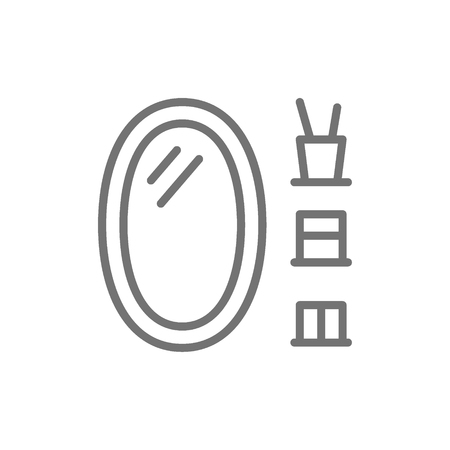 Vector oval bathroom mirror line icon. Symbol and sign illustration design. Isolated on white background