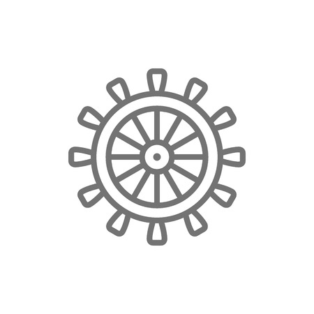 Vector ship steering wheel, rudder, helm line icon. Symbol and sign illustration design. Isolated on white background