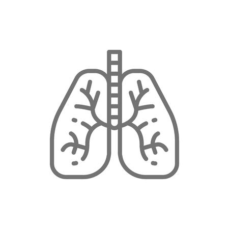 Lungs, human organ line icon.