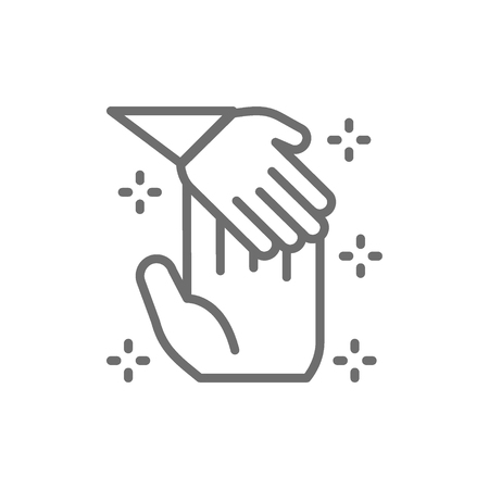 Child hand holds palm of man, donation to children, orphanages, charity, volunteering line icon.