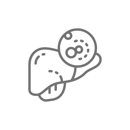 Liver cancer, malignant tumor, oncology line icon. Illustration