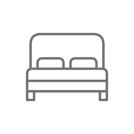 Double bed, hotel room line icon.