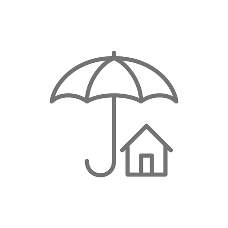 Home insurance, umbrella with house, real estate protection line icon.