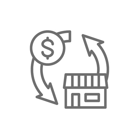 Real estate sales, exchange money for a house line icon.