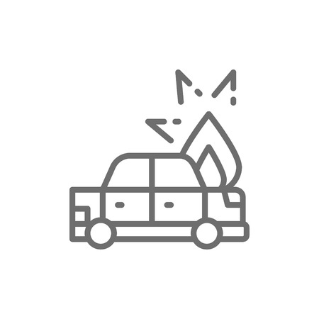 Fire under hood of car, automobile broke down, accident line icon.