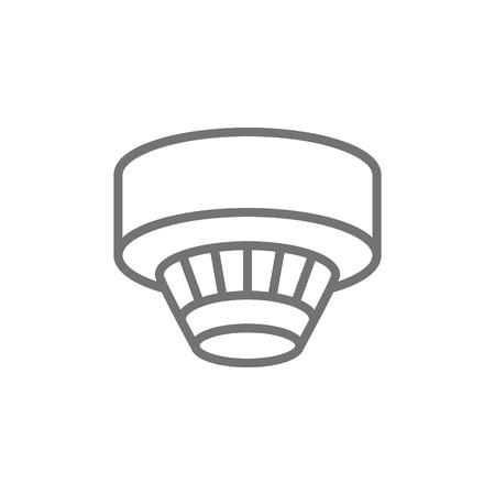 Détecteur de fumée, icône de ligne de système d'alarme. Isolé sur fond blanc Vecteurs