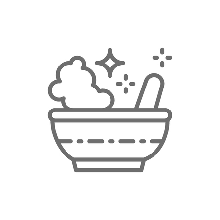 Potion bowl, magic mortar and pestle line icon.