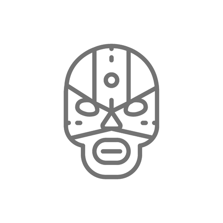 Vector mexican fighter mask, wrestler line icon. Symbol and sign illustration design. Isolated on white background