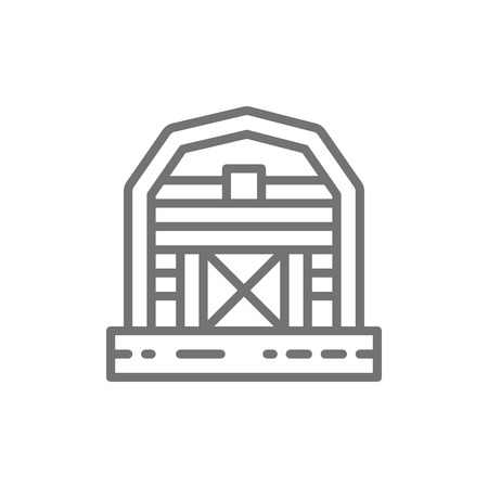 Vector farm barn, greenhouse, countryside line icon. Symbol and sign illustration design. Isolated on white background