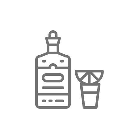 Vector tequila, alcohol, hot drink with lemon line icon. Symbol and sign illustration design. Isolated on white background