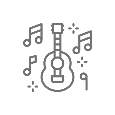 Vector mexican guitar, music, mariachi line icon. Symbol and sign illustration design. Isolated on white background