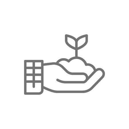 Vector plant in hand, gardening, ecology line icon. Symbol and sign illustration design. Isolated on white background