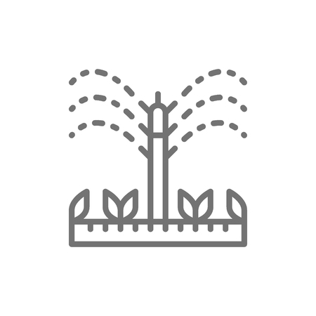 Vector watering, irrigation sprinklers, agriculture, gardening tools line icon. Symbol and sign illustration design. Isolated on white background