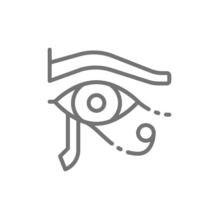 Vector eye of Horus, ancient egyptian moon line icon. Symbol and sign illustration design. Isolated on white background