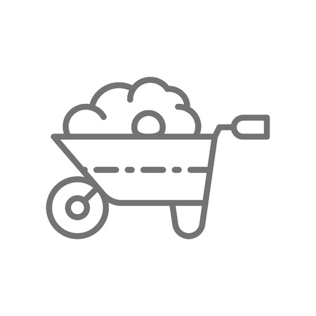 Vector wheelbarrow with organic fertilizer, manure, gardening tool, agriculture line icon. Symbol and sign illustration design. Isolated on white background