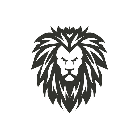 Vector black lion symbol on white background.