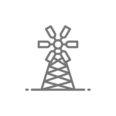 Vector mill, millwheel, watermill, agriculture, farming line icon. Symbol and sign illustration design. Isolated on white background Illustration