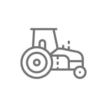 Vector tractor, agrimotor, heavy agricultural machinery line icon. Symbol and sign illustration design. Isolated on white background