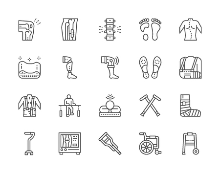 Set of Medical Rehabilitation and Orthopedic Line Icons. Backbone Pain, Flat Foot, Scoliosis, Prosthesis, Bandage, Physiotherapy, Mri Scanner, Crutches, Wheelchair and more. Pack of 48x48 Pixel Icons