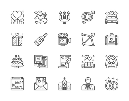 Set of Wedding Line Icons. Bridal Bed, Limousine, Bride, Bridegroom and more.  イラスト・ベクター素材
