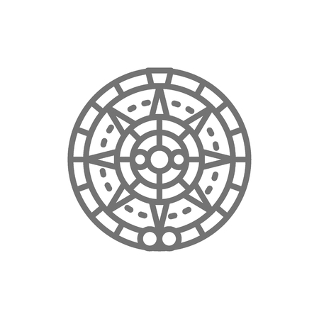 Vector Mayan calendar, mexican ethnic ornament line icon. Symbol and sign illustration design. Isolated on white background