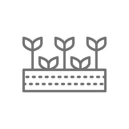 Vector field with plants, farmland, garden, agricultural landscape line icon. Symbol and sign illustration design. Isolated on white background