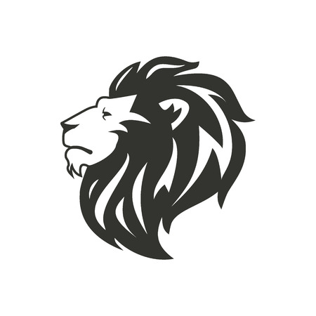 Black lion silhouette isolated on white background. Illustration