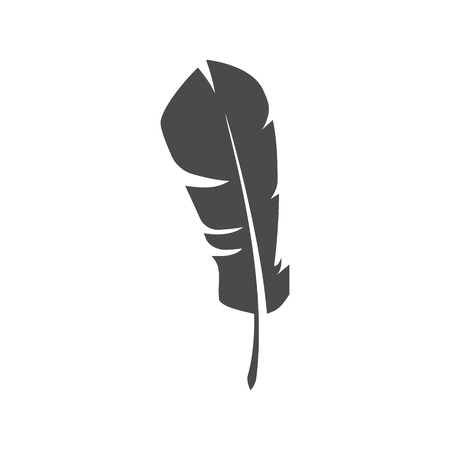 Isolated feather symbol on white background.
