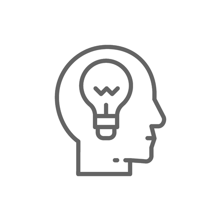 Vector head with lamp, idea generation, think, thought, brain process, knowledge line icon. Symbol and sign illustration design. Isolated on white background