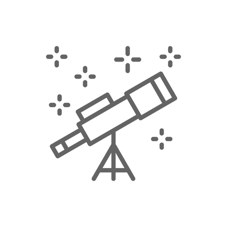 Vector telescope line icon. Symbol and sign illustration design. Isolated on white background