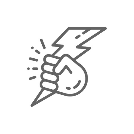 Vector hand with lightning, power line icon. Symbol and sign illustration design. Isolated on white background