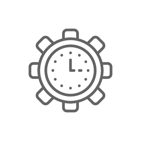 Vector clock in gear, tech watch, productivity, efficiency, time management line icon. Symbol and sign illustration design. Isolated on white background Иллюстрация