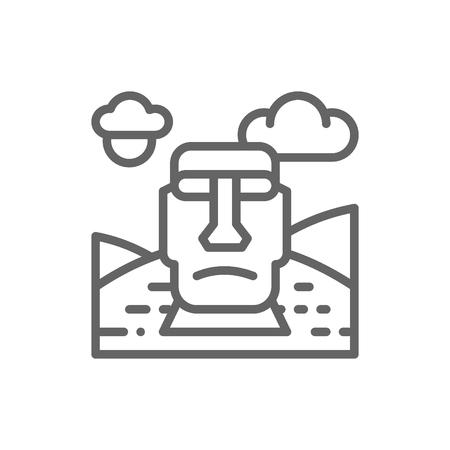 Easter Island, Chile, landmark line icon. Illustration