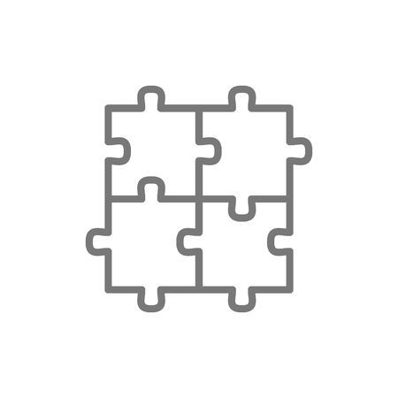 Vector puzzle, jigsaw, square, integrity, problem solving line icon. Symbol and sign illustration design. Isolated on white background