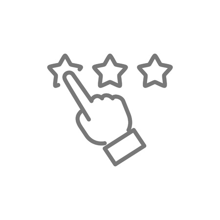 Vector finger point to stars, customer review, rating, feedback, reputation and quality line icon. Symbol and sign illustration design. Isolated on white background Vectores