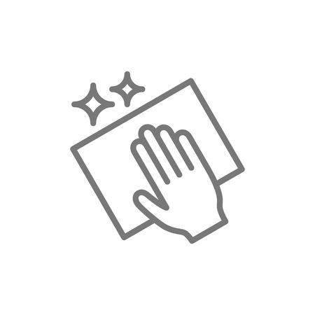 Nettoyage de vecteur avec l'icône de ligne de chiffon. Conception d'illustration de symbole et de signe. Isolé sur fond blanc Vecteurs