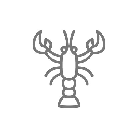 Vector crayfish, crawfish, lobster line icon. Symbol and sign illustration design. Isolated on white background Illustration
